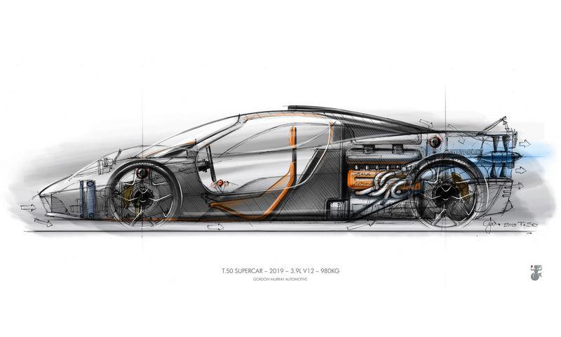 """Gordonas Murray tvirtina, kad T.50 pranoks jo legendinį kūrinį """"McLaren F1"""". GAMINTOJO nuotr."""