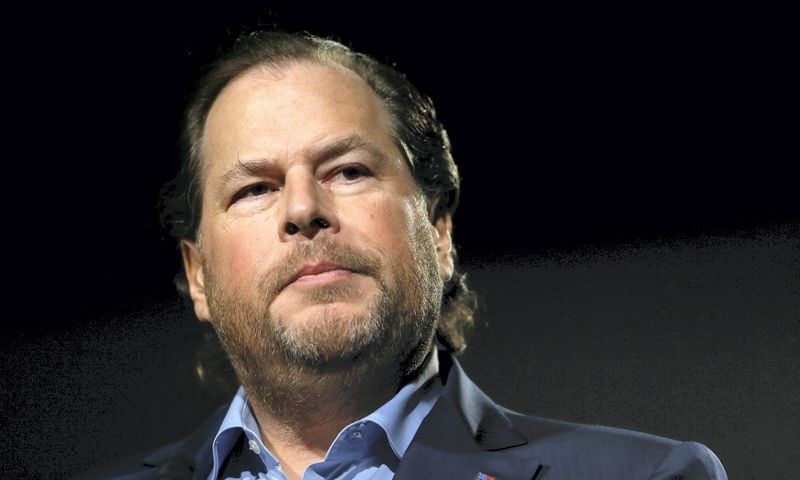 """""""Salesforce"""" vadovas Marcas Benioffas. AP nuotr."""
