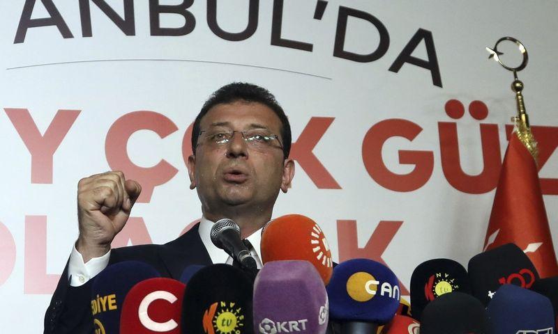 """Ekremas Imamoglu, išrinktasis Stambulo meras. AP/ """"Scanpix"""" nuotr"""