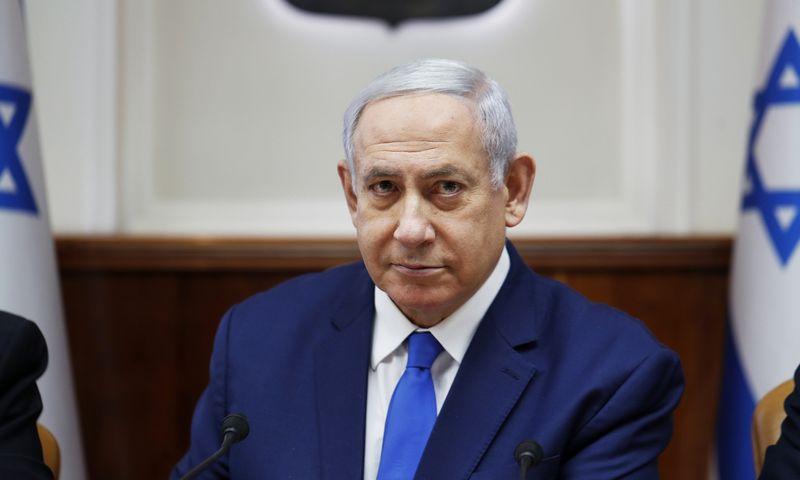 "Izraelio premjeras Benjaminas Netanyahu. Ronern Zvulun (AP/""Scanpix"") nuotr."
