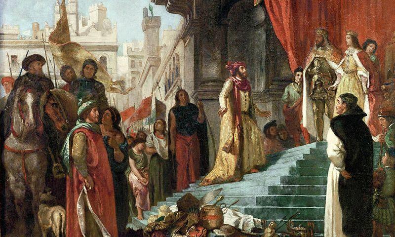 """""""Cristoforo Colombo sugrįžimas; jo audiencija pas karalių Ferdinandą II ir Izabelę I"""". Eugene Delacroix paveikslas."""