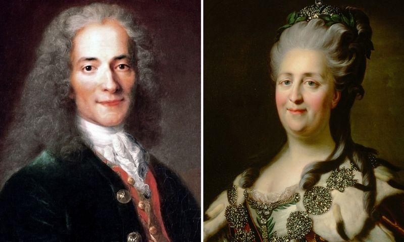 """Rusijos imperatorė Jekaterina II-oji ir prancūzų filosofas Voltaire'as niekuomet nesusitiko, bet susirašinėjo penkiolika metų. """"Wikipedia"""" nuotr. koliažas"""