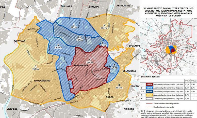 Vilniaus miesto savivaldybės teritorija suskirstyta zonomis pagal nustatytus automobilių stovėjimo vietų skaičiaus koeficientus. Savivaldybės nuotr.