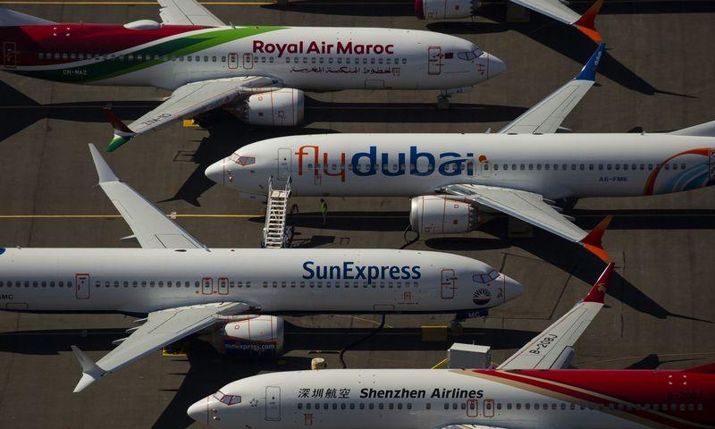 """Atnaujinimų laukiantys """"Boeing 737 MAX"""" lėktuvai gamintojo teritorijoje. """"Getty Images"""" / AFP / """"Scanpix"""" nuotr."""