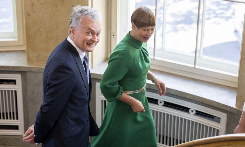 """Prezidentas Gitanas Nausėda Taline susitiko su Estijos prezidente Kersti Kaljulaid. Luko Balandžio (""""15min.""""/""""Scanpix"""") nuotr."""
