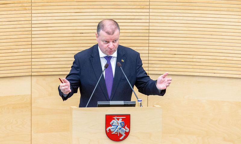 Premjeras Saulius Skvernelis atėjo į Seimą atgauti įgaliojimų Vyriausybei pasikeitus daugiau kaip pusei ministrų. Juditos Grigelytės (VŽ) nuotr.