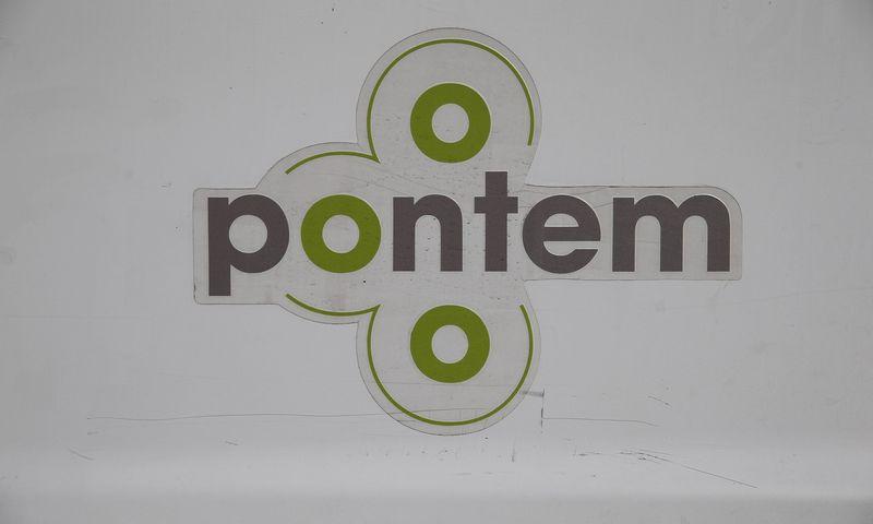 """Didmeninės prekybos maisto produktais ir ir namų apyvokos prekėmis UAB """"Pontem"""" logotipas. Vladimiro Ivanovo (VŽ) nuotr."""