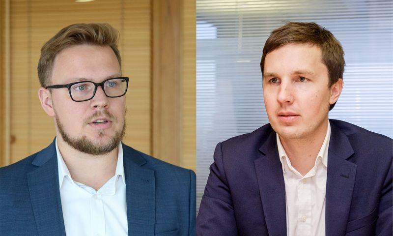 """Iš kairės: Tautvydas Marčiulaitis, Lietuvos investicijų valdymo įmonės """"Milvas"""" fondų valdytojas ir Deividas Tumas, investuotojas. VŽ fotokoliažas."""