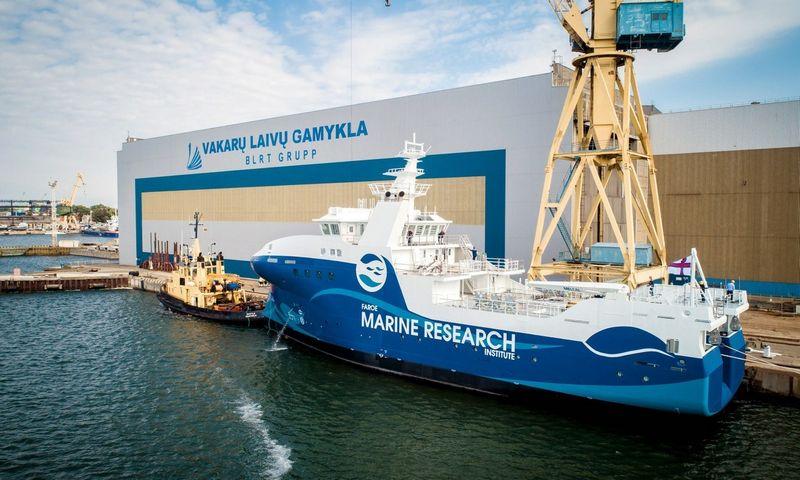 """Naujausias AB """"Vakarų laivų gamykla"""" įmonių grupės projektas– pastatytas ir dalinai įrengtas 54m ilgio ir 13,6m pločio mokslinių tyrimų laivas, kuris padės tirti vandenynus ir išsaugoti žuvų atsargas ateities kartoms."""
