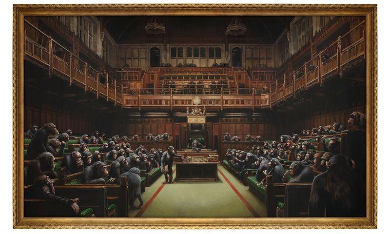 "Banksy ""Devolved Parliament"", 2009 m. Sotheby's"" aukciono namų nuotr."