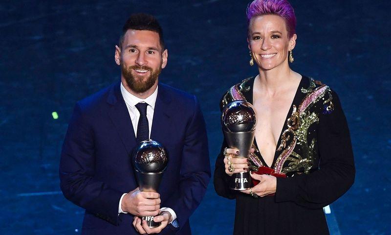 "Lionelis Messi ir Megan Rapinoe. Marco Bertorello (AFP / ""Scanpix"") nuotr."