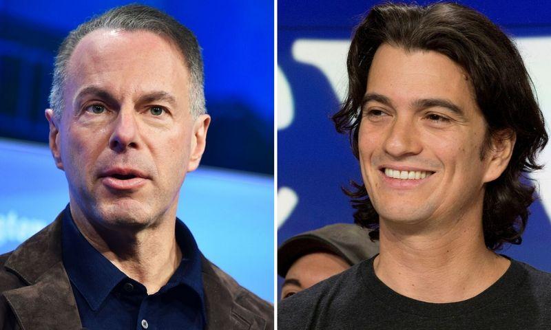 """Devinas Wenigas, """"eBay"""" vadovas, (kairėje) ir Adamas Neumannas, """"WeWork"""" CEO, – du pavyzdžiai iš JAV rugpjūtį įsisiūbavusio ir rugsėjį vis dar ūžiančio vadovų kaitos vajaus. """"Scanpix"""" nuotraukų koliažas."""