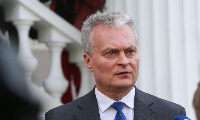 Gitanas Nausėda prie prezidentūros. Vladimiro Ivanovo (VŽ) nuotr.