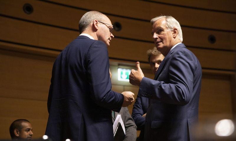 """Simonas Coveney, Airijos užsienio reikalų ministras (kairėje) kalbasi su Micheliu Barnier, vyriausiuoju ES """"Brexit"""" derybininku. Virginios Mayo (AP / """"Scanpix"""") nuotr."""