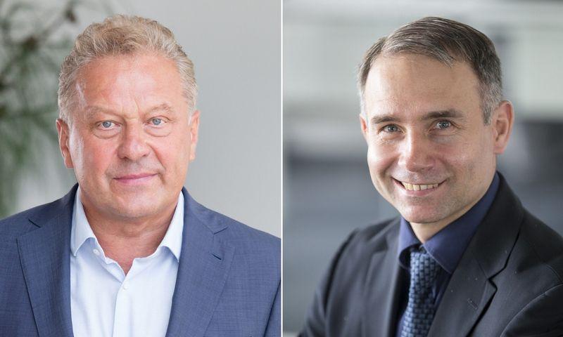 """Rimantas Perveneckas yra""""Aprangos"""" grupės generalinis direktorius ir Petras Masiulis, UAB """"Tele2"""" vadovas. VŽ montažas."""