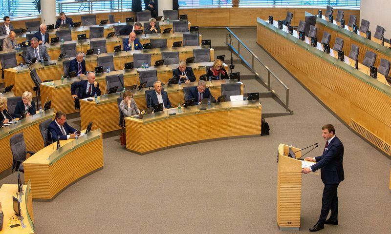 Biudžeto projektą Seimui pristatė finansų ministras Vilius Šapoka. Vladimiro Ivanovo (VŽ) nuotr.