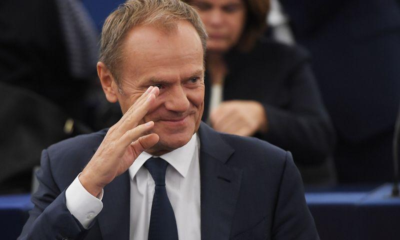 "Europos Tarybos prezidentas Donaldas Tuskas. Frederick Florin (AFP/""Scanpix"") nuotr."