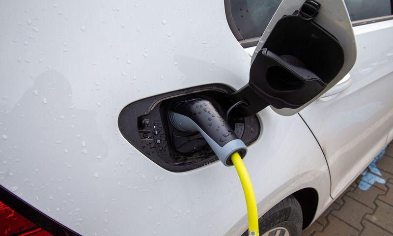 Vagys dažniausiai taikosi į brangius elektromobilių įkrovimo kabelius, bet ne į pačias stoteles. VLADIMIRO IVANOVO NUOTR.