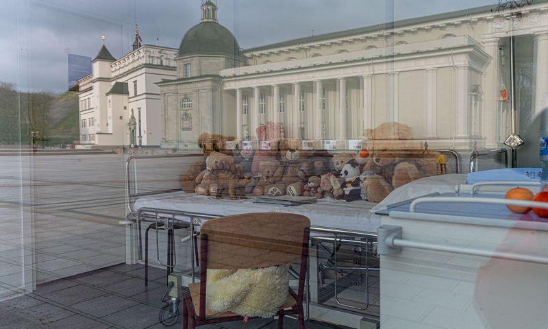 Mamų unijos įkurta imitacinė ligoninės palata Vilniaus Katedros aikštėje nuo šiandien keičia veidą. Juditos Grigelytės (VŽ) nuotr.