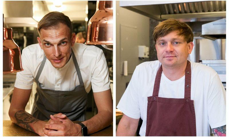 """VŽ koliažas. Iš kairės: Matas Paulinas, """"Nineteen18"""" vyriausiasis šefas, ir Martynas Praškevičius, restorano """"Džiaugsmas"""" virtuvės šefas."""