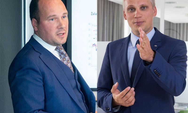 """Žygimantas Mauricas, """"Luminor"""" vyriausiasis ekonomistas (kairėje) ir Vilius Juzikis, SEB banko valdybos narys. VŽ koliažas."""