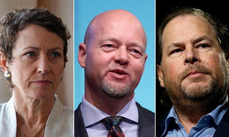 """Vadovų patirtis rodo: kai skiriama laiko nedirbti, dirbti sekasi geriau. Nuotraukoje iš kairės: Inga Beale, draudimoir perdraudimo korporacijos """"Lloyd's"""" buvusi vadovė, Yngve Slyngstadas, turto fondo """"Norges Bank Investment Management"""" pasitraukiantis vadovas, ir Marcas Benioffas programinės įrangos korporacijos """"Salesforce"""" CEO. """"Scanpix"""" nuotraukų koliažas."""