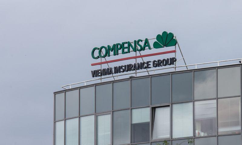 """Gyvybės draudimo bendrovės """"Compensa Life Vienna Insurance Group"""" iškaba. Juditos Grigelytės (VŽ) nuotr."""