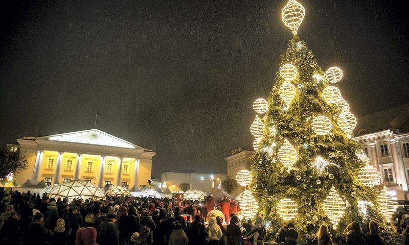 """Kalėdų eglutė Vilniaus Rotušės aikštėje. Juliaus Kalinsko (""""15min.""""/""""Scanpix"""") nuotr."""