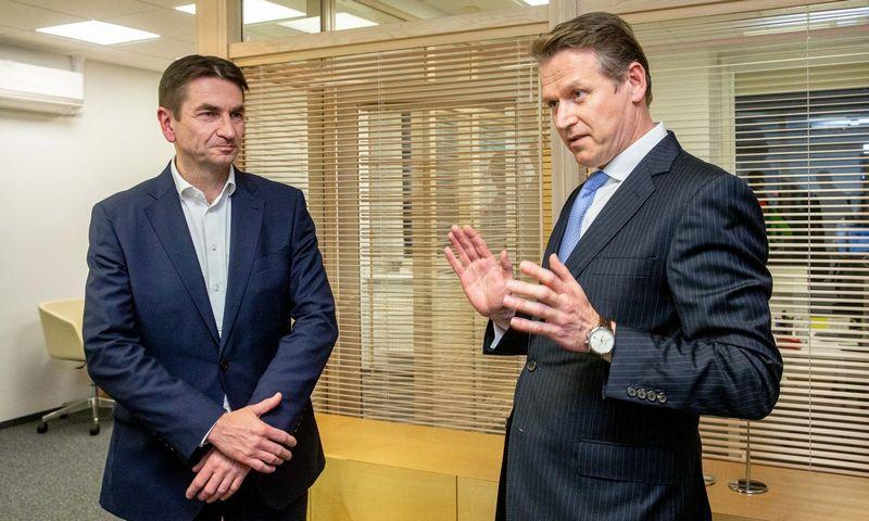 """Darius Maikštėnas, """"Ignitis grupės"""" generalinis direktorius (kairėje), ir Darius Daubaras, """"Ignitis grupės"""" stebėtojų tarybos pirmininkas. Juditos Grigelytės (VŽ) nuotr."""