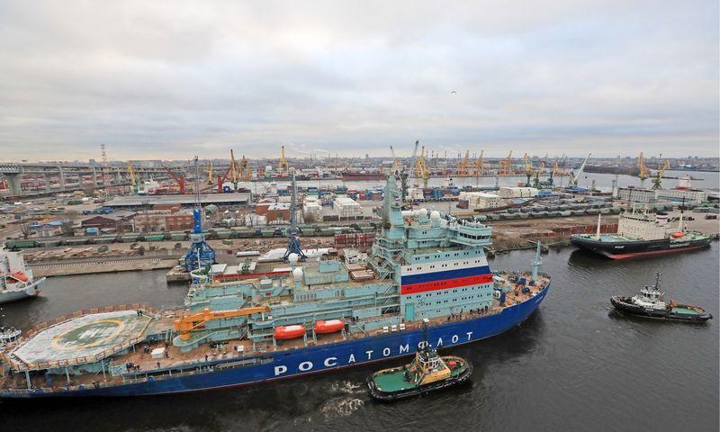 """Naujasis atominis ledlaužis """"Arktika"""" Sankt Peterbugo uoste. TASS / """"Scanpix"""" nuotr."""