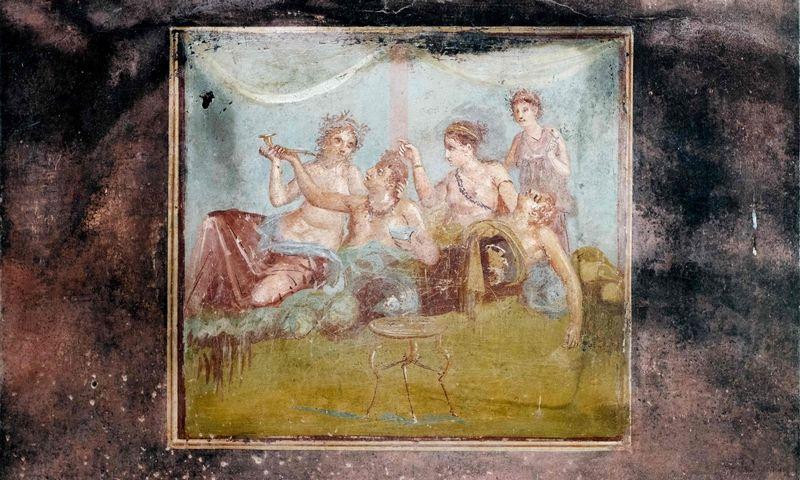 """Atidengta freska Pompėjų pasilinksminimo namuose, 2017 m. Eliano Imperato (AFP / """"Scanpix"""") nuotr."""