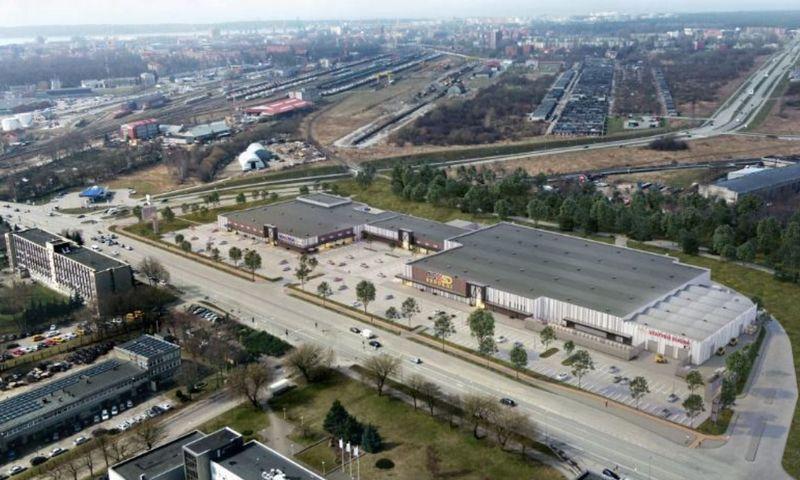 """""""Liepų projektų"""" plėtojamas prekybos centras Klaipėdoje. Bendrovės vizualizacija."""