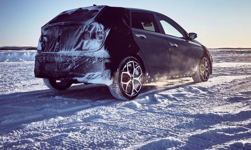 """Pirmosiose oficialiose nuotraukose – kamufliažu užmaskuoti Švedijos šiaurėje bandomi """"i20N"""" prototipai. """"Hyundai motor Corp."""" nuotr."""