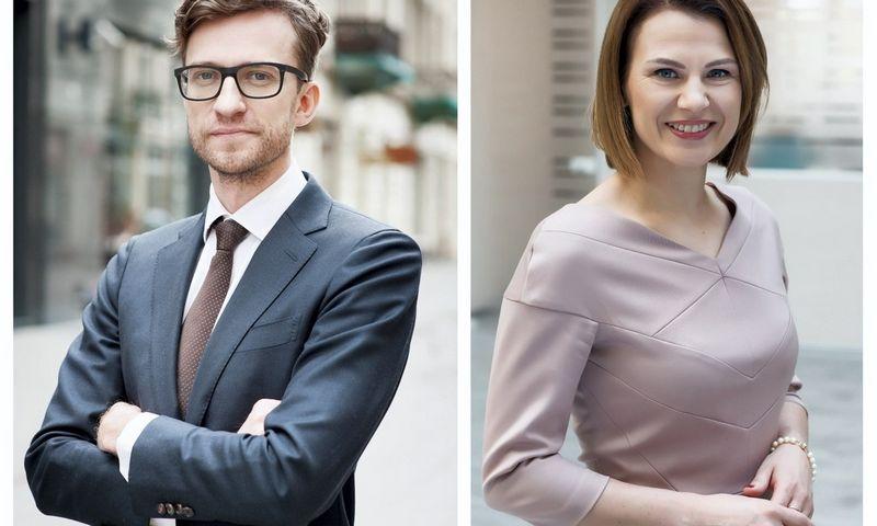 """VŽ koliažas. Advokatų kontoros """"Glimstedt"""" partneris Marius Embrektas ir Laura Augytė-Kamarauskienė, """"Glimstedt"""" asocijuotoji partnerė."""