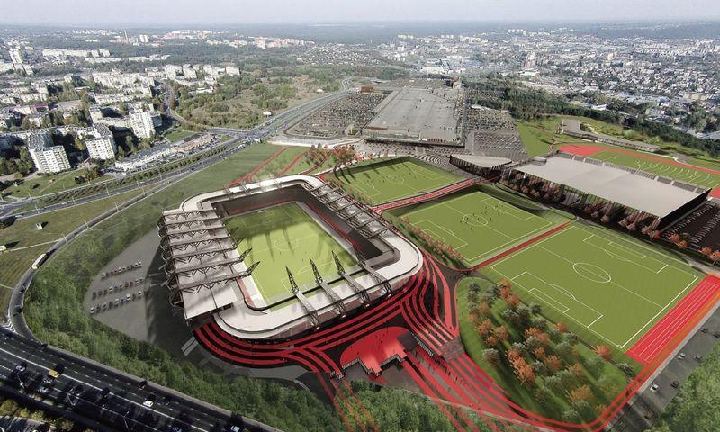 """Nacionalinio stadiono komplekso vizualizacijos. """"Cloud architektai"""" vizualizacija. Liucijos Zubrutės (VŽ) nuotr."""
