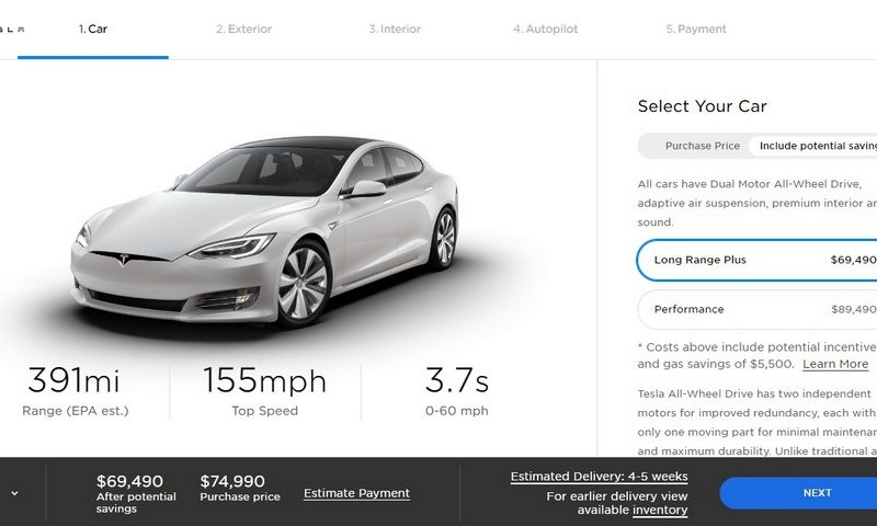 """""""Teslos"""" tinklalapyje nurodomos mažesnės elektromobilių kainos. """"Tesla Motors Inc."""" interneto svetainės ekrano nuotrauka."""