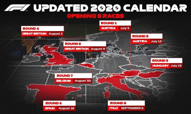 """Dabar numatyti 8 Europoje vyksiantys etapai. """"Formula1.com"""" vizualizacija."""