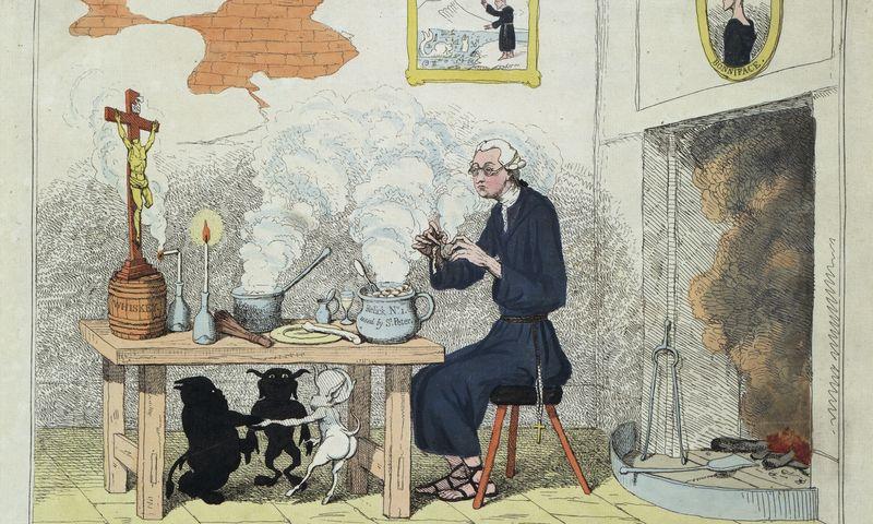 Edmundas Burke'as šioje karikatūroje vaizduojamas kaip jėzuitas. Mary Evans rinkinys. Kongreso bibliotekos kolekcija