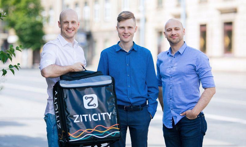 """(Iš kairės) Laimonas Noreika, Karolis Januškas ir Vytautas Noreika, prekių pristatymo platformos """"Ziticity"""" įkūrėjai. Bendrovės nuotr."""