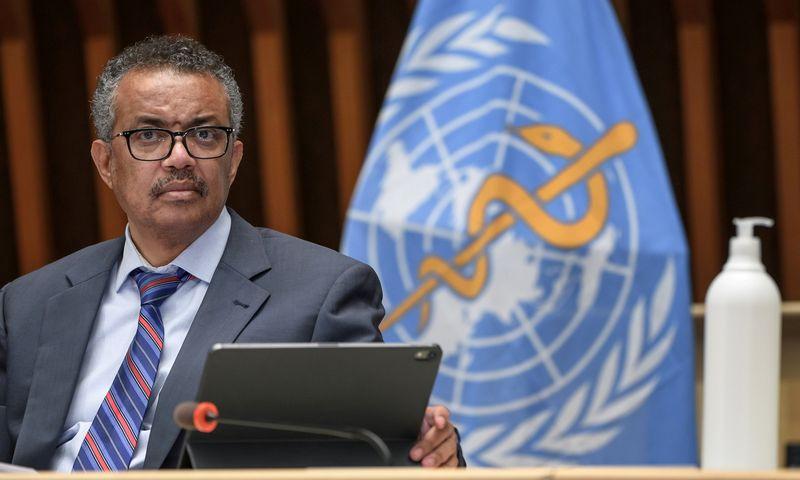 """PSO generalinis direktorius Tedrosas Adhanomas Ghebreyesusas. Fabrice'o Coffrini (""""Pool"""" / """"Reuters"""" / """"Scanpix"""") nuotr."""