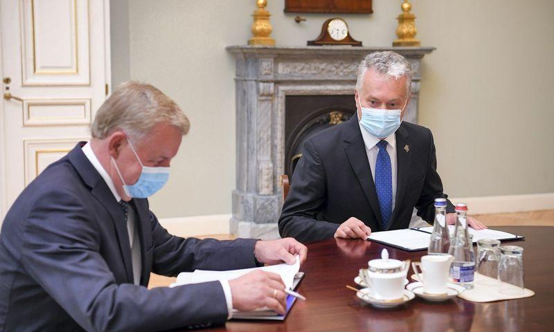 Prezidentas G. Nausėda susitiko su ekonomikos ir inovacijų ministru R. Sinkevičiumi. Roberto Dačkaus (Prezidento kanceliarija) nuotr.