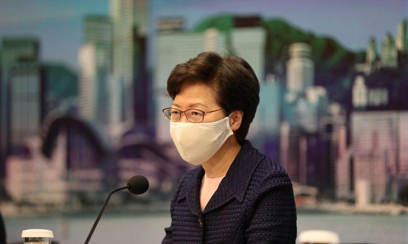 """Honkongo lyderė Carrie Lam. Li Gang (""""Xinhua"""" / """"ZUMA Press"""" / """"Scanpix"""") nuotr."""