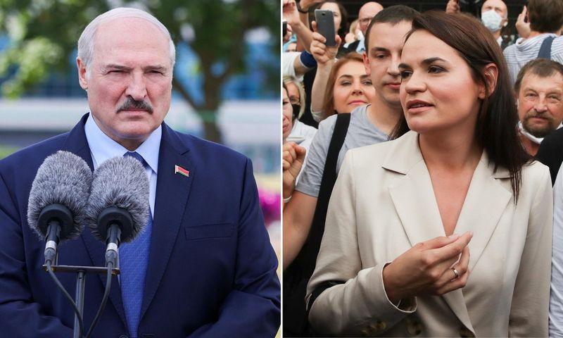 """Baltarusijos prezidento rinkimai: šeštosios kadencijos siekiantis Aliaksandras Lukašenka ir vienintelė opozicijos kandidatė Svetlana Tichanovskaja. """"Scanpix"""" nuotr. koliažas."""