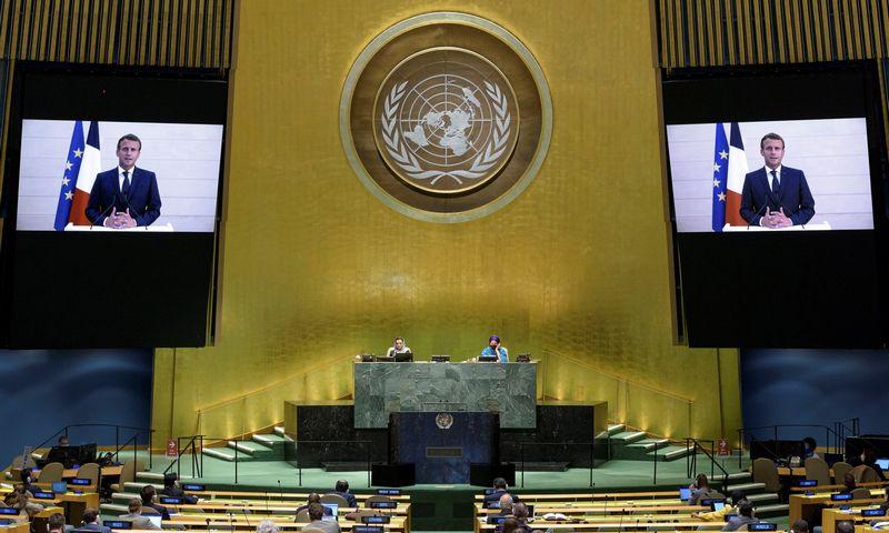 """Prezidentas E. Macronas JT Generalinėje Asamblėjoje kalbėjo nuotoliniu būdu. JT/""""Reuters""""/""""Scanpix"""" nuotr."""