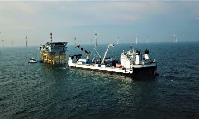 """Kabeliams tiesti skirtas laivas, priklausantis """"Prysmian Group"""". Nuotraukos """"PRYSMIAN GROUP BALTICS"""""""