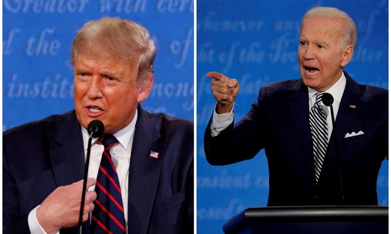 "JAV prezidentas Donaldas Trumpas ir  demokratų kandidatas Joe Bidenas. Brian Snyder (""Reuters"" / ""Scanpix"") nuotr."