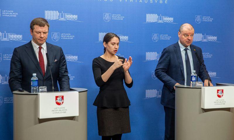 Sauliaus Skvernelis, ministras pirmininkas, ir Vilius Šapoka, finansų ministras. Vladimiro Ivanovo (VŽ) nuotr.