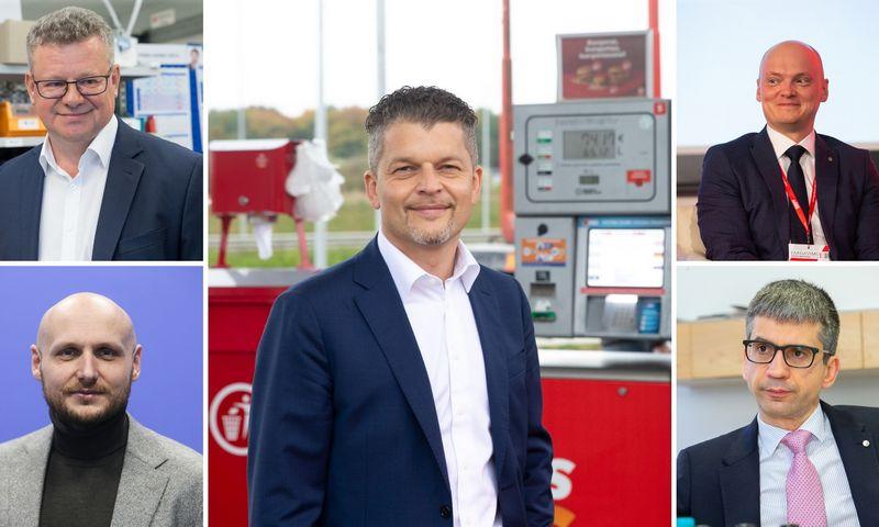 """(Viršuje, kairėje) Algimantas Markauskas, UAB """"Thermo Fisher Scientific Baltics"""" generalinis direktorius; Skirmantas Mačiukas, degalinių tinklo """"Circle K"""" vadovas; Tomas Prūsas, UAB """"Harju Elekter"""" vadovas; Edvardas Liachovičius, UAB """"Girteka Logistics"""" generalinis direktorius; Tomas Okmanas, UAB """"360 IT"""" vadovas ir vienas iš """"Tesonet"""" grupės įkūrėjų. VŽ koliažas."""