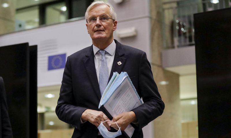 """Europos Sąjungos vyriausiasis derybininkas Michelis Barnier. Olivier Hoslet (AP/""""Scanpix"""") nuotr."""