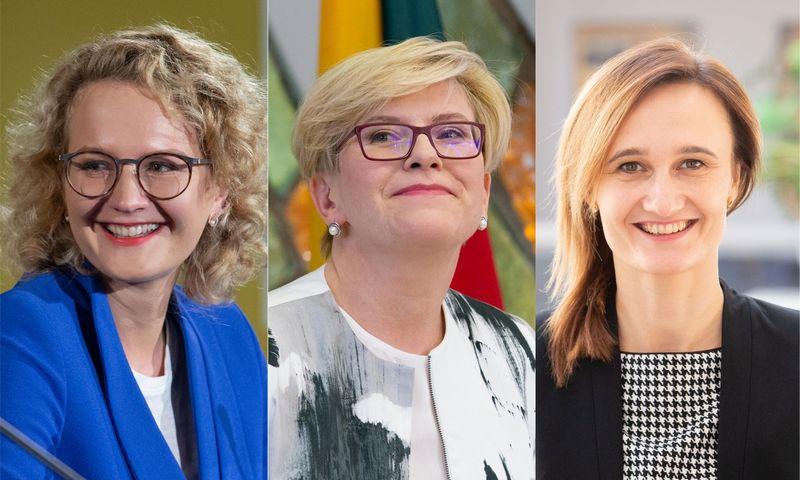 Valdžią perima trijų moterų - Ingridos Šimonytės, Aušrinės Armonaitės ir Viktorijos Čmilytės-Nielsen - vadovaujamos centro dešinės partijos. VŽ fotomontažas.